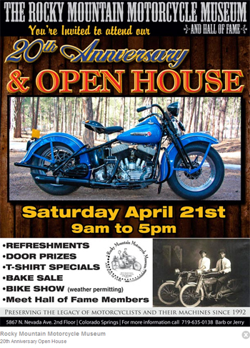 Rocky Mountain Motorcycle Museum anniversary flyer