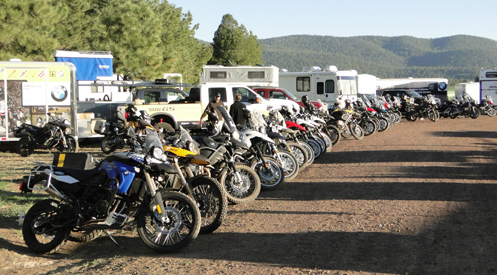 Bikes lined up at the Overland Expo