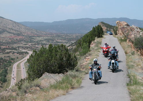 motorcycles on Skyline Drive in Colorado