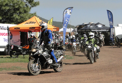 Bikes head out on a ride at the Overland Expo