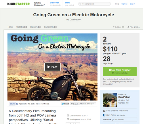 Dan Patino's Kickstarter page for his Going Green project