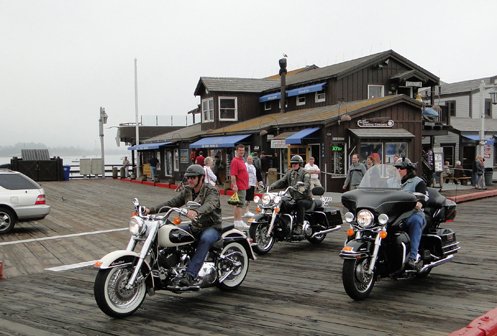 motorcycles on the wharf