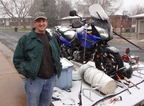 Kevin and the V-Strom on his trailer