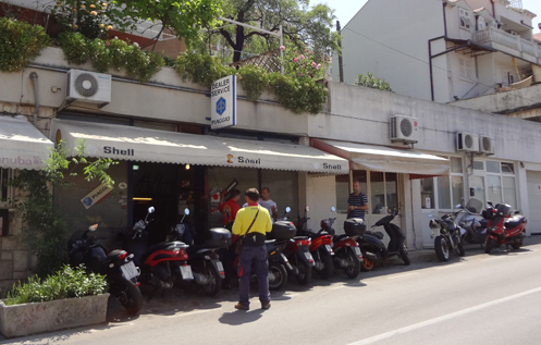 A motorcycle/scooter dealership in Dubrovnik, Croatia.