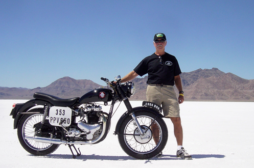 Jerry Pokorny and bike at speed week