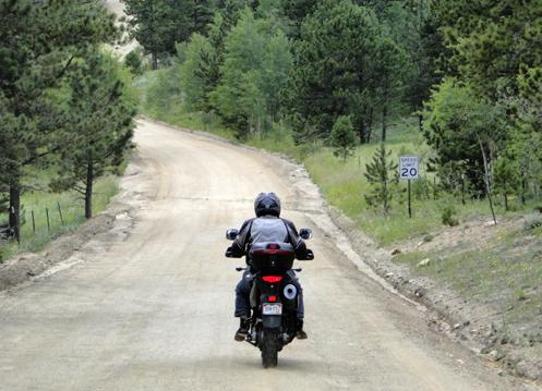 V-Strom on gravel road