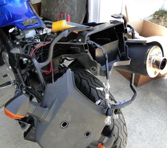 V-Strom rear-end disassembled