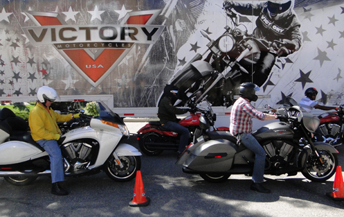 Riders set to try out some Victory motorcycles