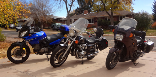 My three motorcycles lined up in the driveway.