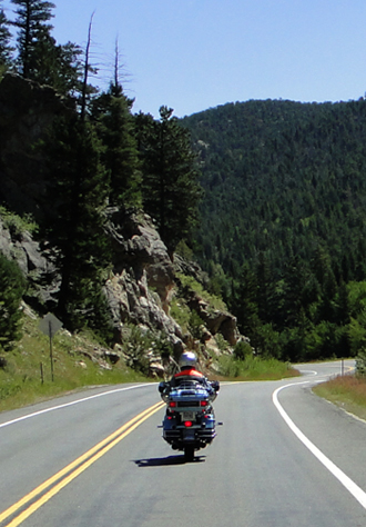 Alan on Harley in the Big Thompson Canyon