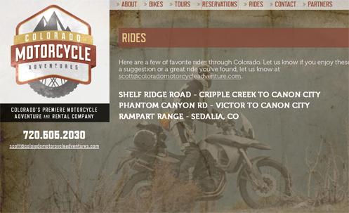 The Colorado Motorcycle Adventures website