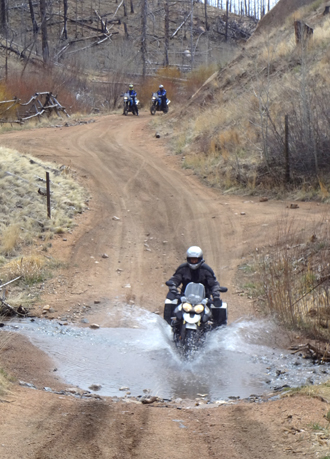Crossing the creek on motorcycles
