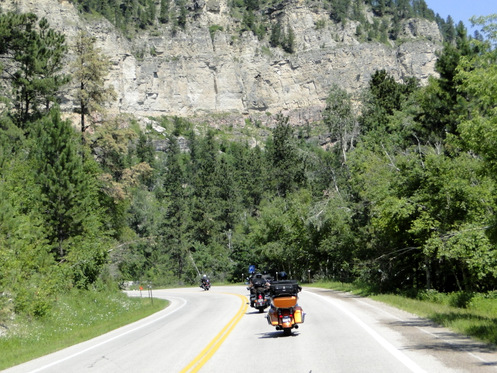 Motorcycles down Spearfish Canyon