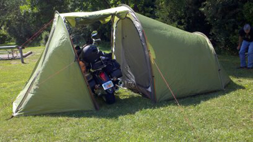 Tent with space for motorcycle & Blog Archive » Tips for Two-Up Motorcycle Camping
