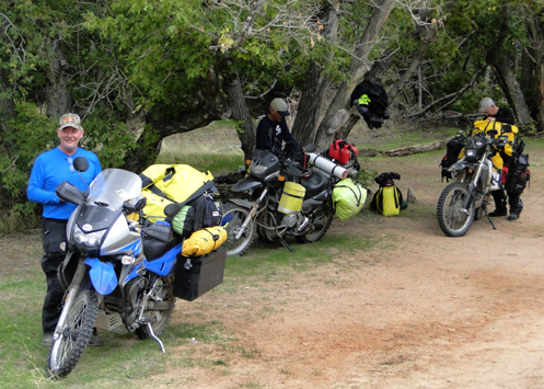 Motorcyclists at Echo Park Campground in Dinosaur National Monument.