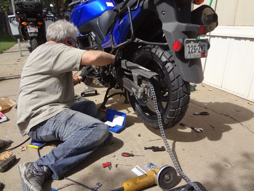 Putting a new chain on a V-Strom
