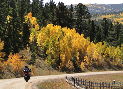 motorcycle ride in the hills in the fall