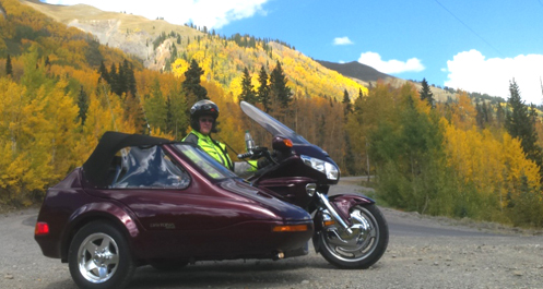 Goldwing sidecar rig on Red Mountain Pass