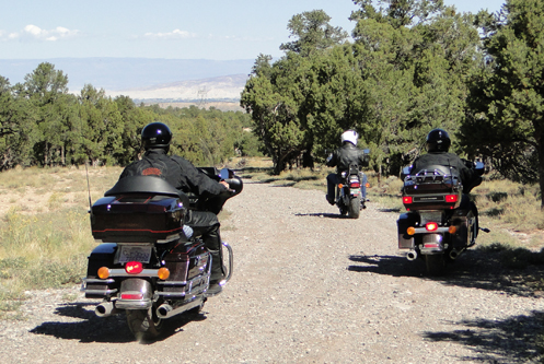 Motorcycles on a gravel road