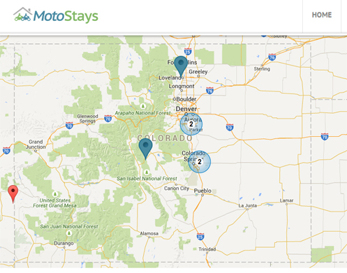 Colorado MotoStays map