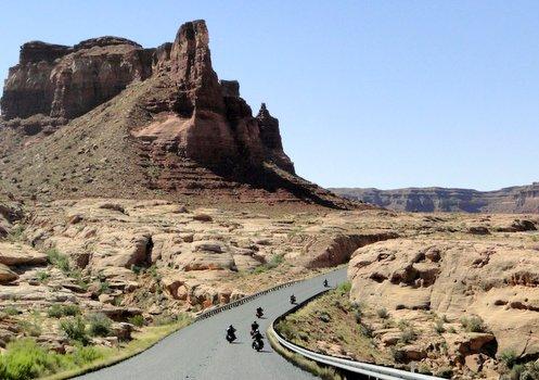 Riding through Glen Canyon National Recreation Area.