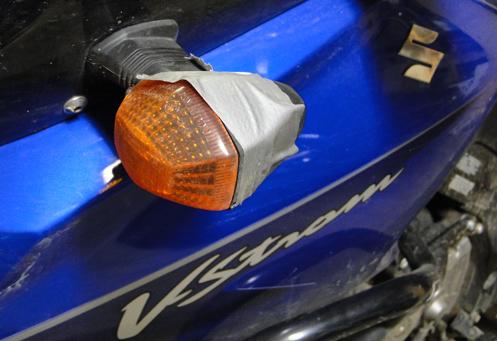 Busted turn signal on a Suzuki V-Strom.