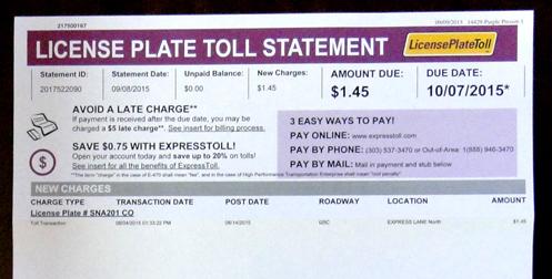 ExpressToll bill