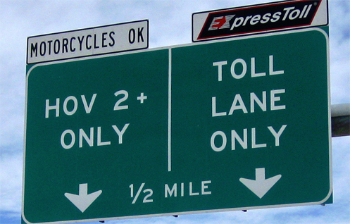 By law, motorcycles are free to use HOV lanes at no charge.