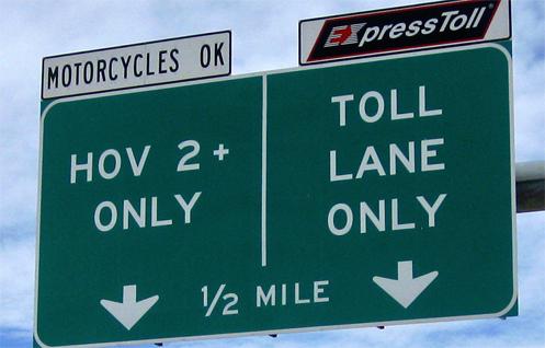 HOV lane sign