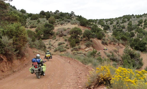 Motorcycles on road in Dinosaur National Monument