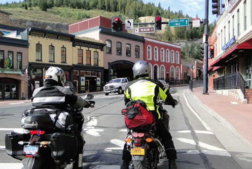 Motorcycles in a mountain town