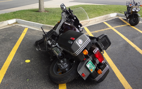 motorcycle laying on its side