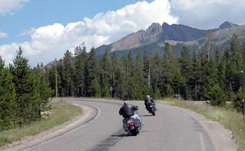 motorcycles on mountain road