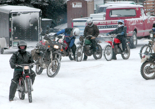 motorcycles in the snow