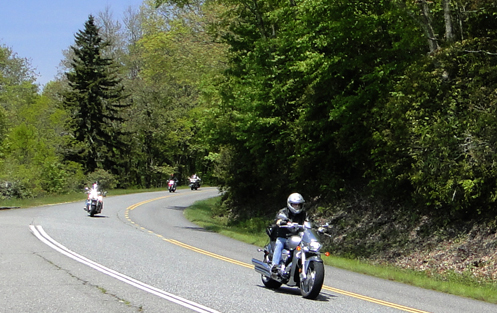 Motorcyclists on a North Carolina highway.