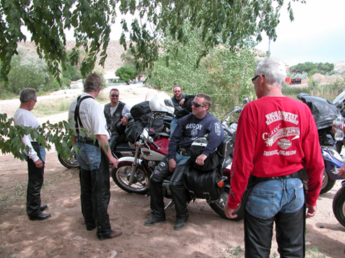 Bikers take a break.