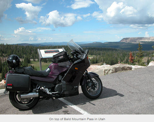 motorcycle on top of Bald Mountain Pass.