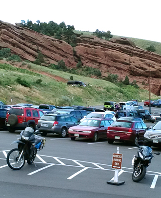motorcycle parking at Red Rocks Park.