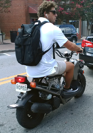 "scooter with ""moped"" plate"