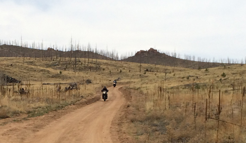 motorcycles after forest fire